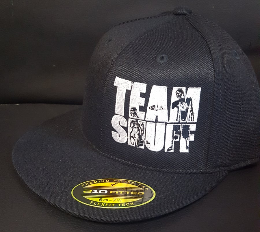 Image of BLACK TEAMSNUFF  EMBROIDERED FITTED hat