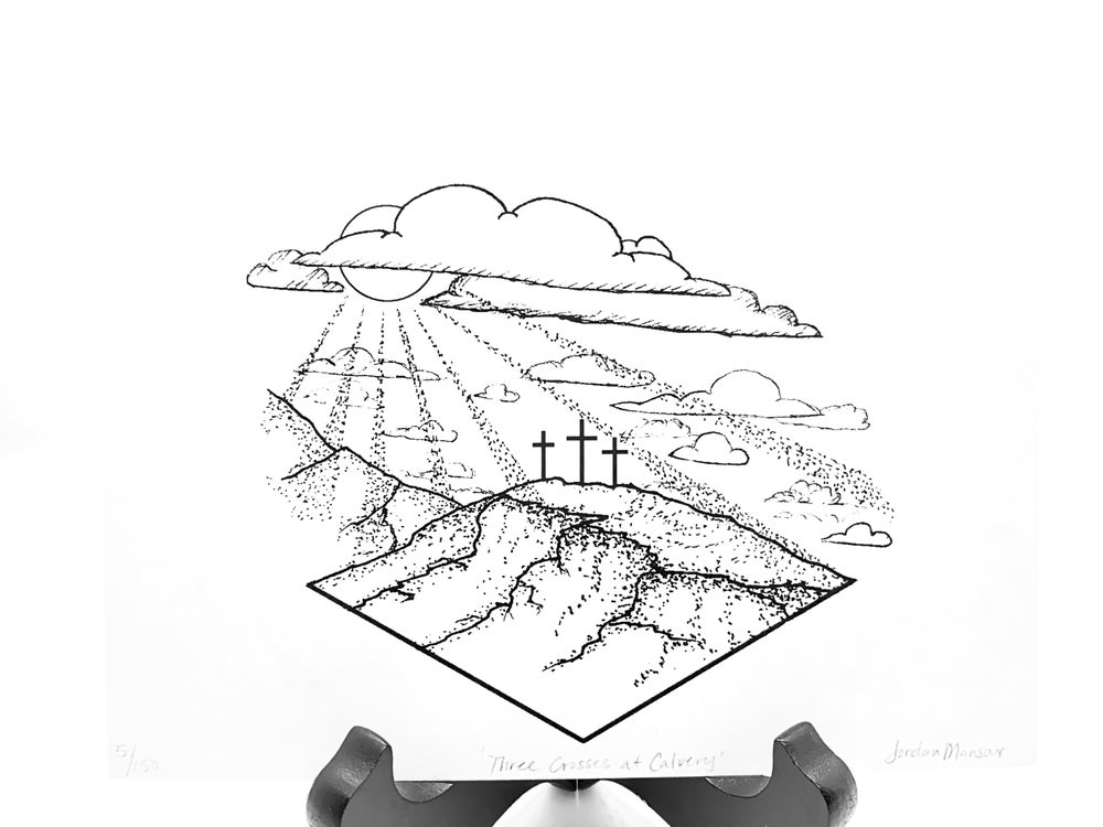 Image of Three Crosses At Calvary Print