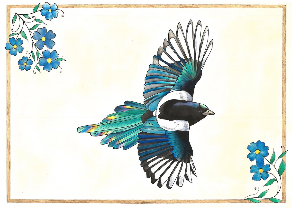 Forget Me Not Magpie Prints