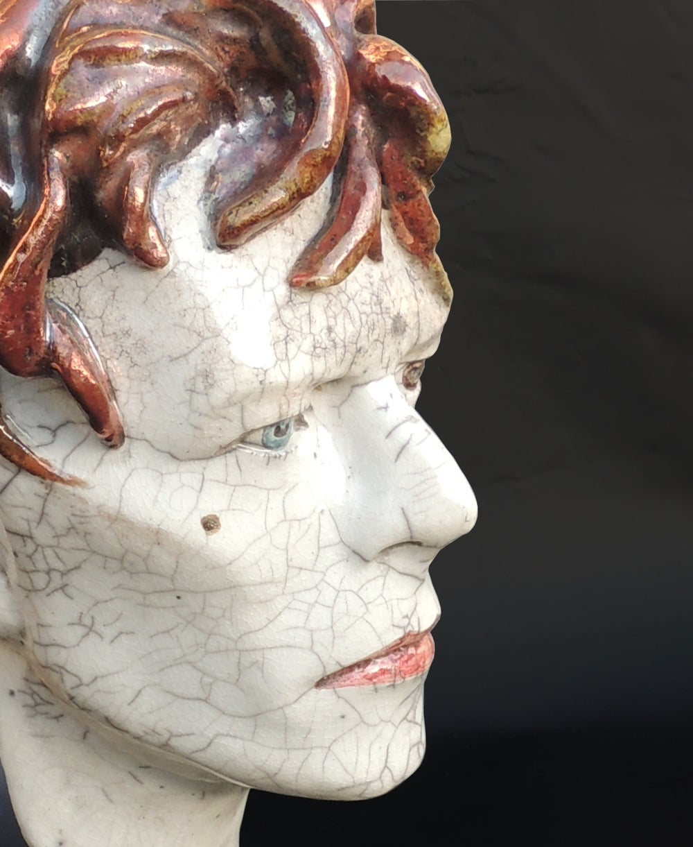 'It's No Game' Ceramic Face Sculpture