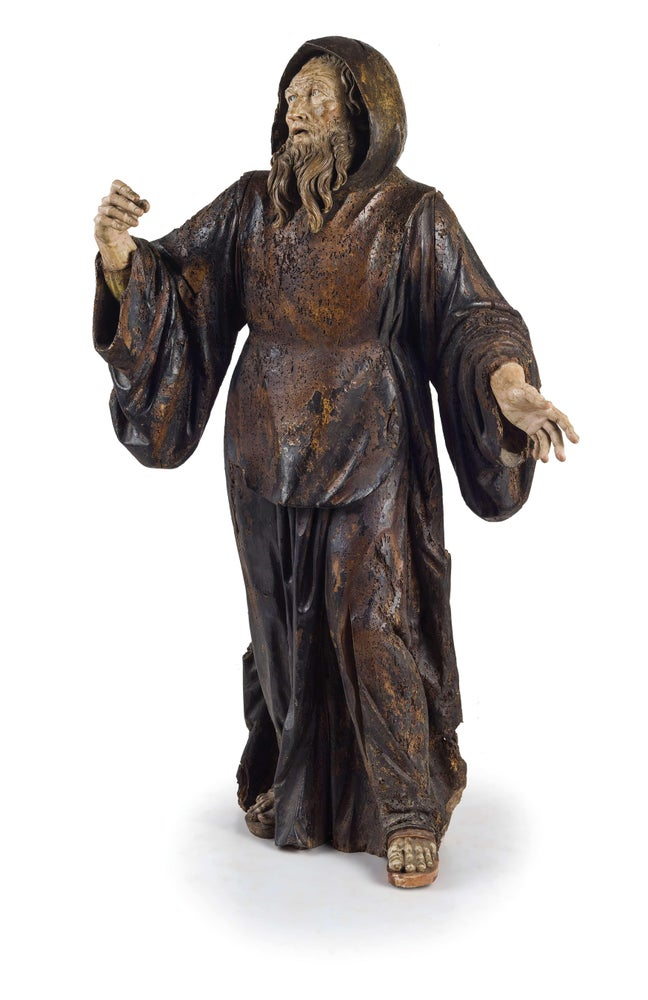 Image of An important polychrome wood statue of St. Anthony attributed to Pietro Torrigiani