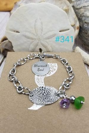 Image of Fine Silver- Handmade- Sea Glass- Bracelet- Amethyst- #341