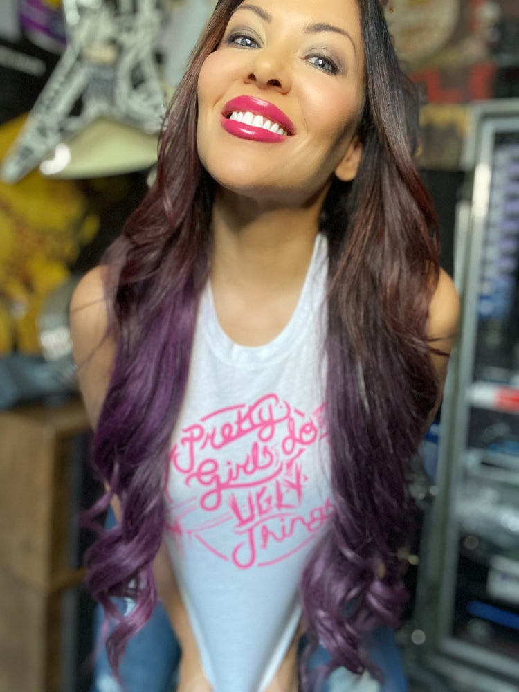 Image of Pretty in Pink White crop racerback tank