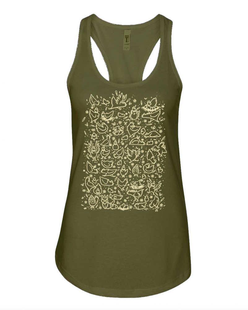Image of All The Chickens - Army Green Racerback Tank