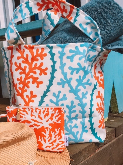 Coral Splendor Large Tote Bag
