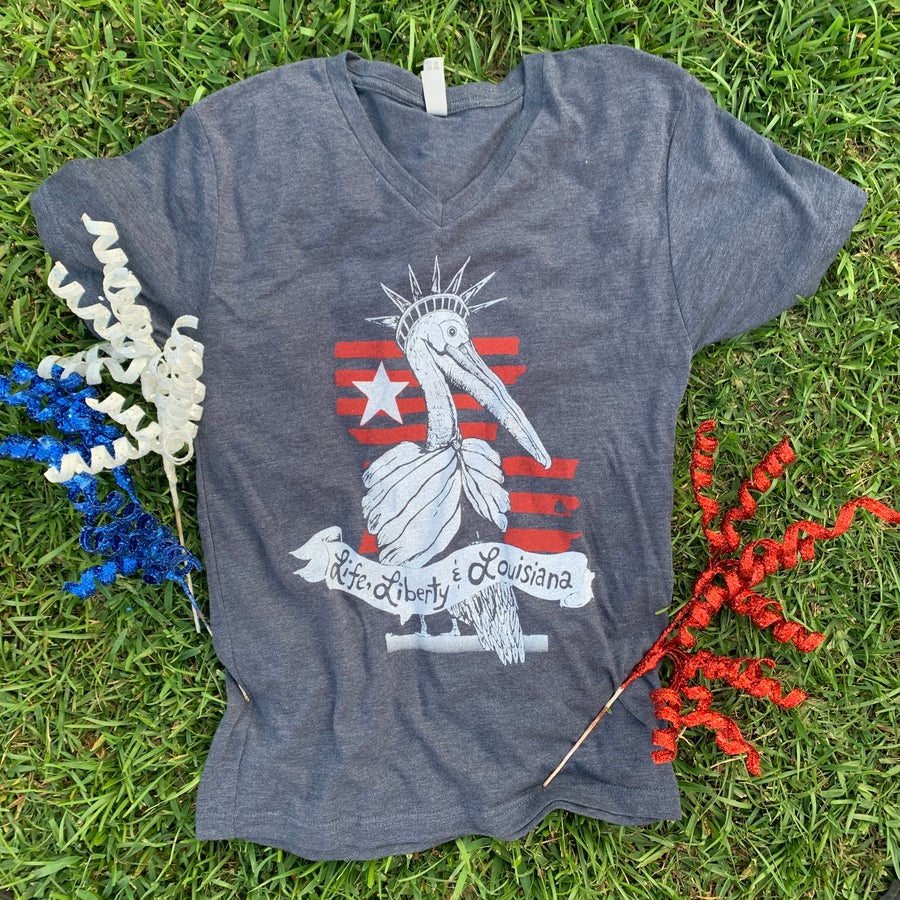 Image of Adult Life, Liberty & Louisiana NAVY V-neck