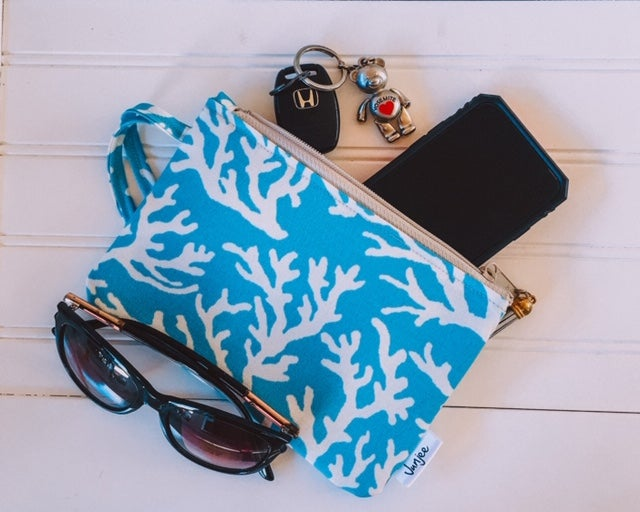Turquoise Coral Wristlet