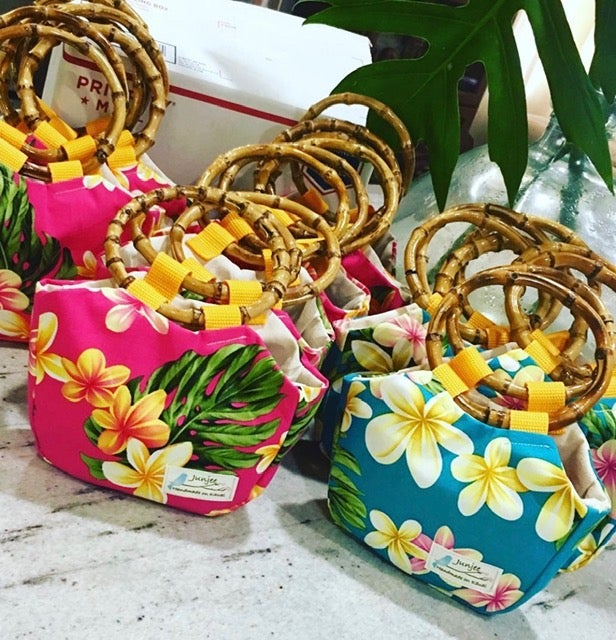 On Sale! 30% Off! Regular $36.00 Keiki Bag Plumeria with Bamboo Handle