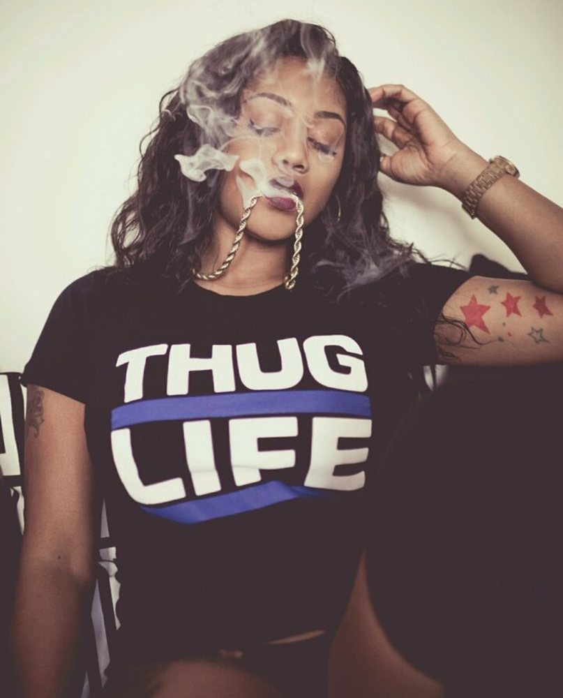 Image of Thuglife Female Baby Tee- Red & Blue Stripe