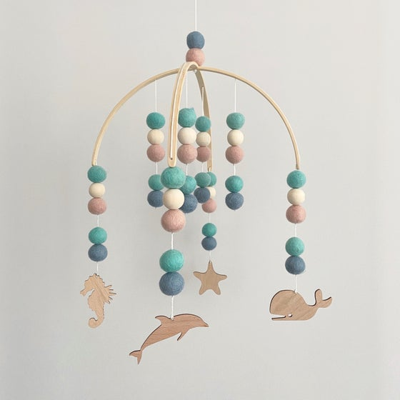 Image of Under the Sea Mobile - pink, mint, steel blue & raw wood