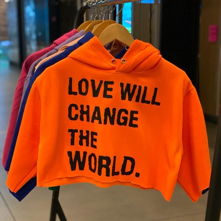 "Image of ""Love Will Change The World"" CropTop hoodie"