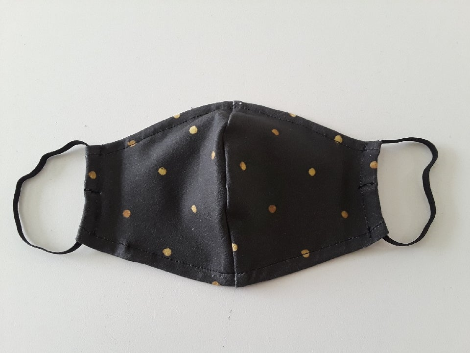 Image of DK FACE MASK BLACK W/ GOLD POLKA DOT