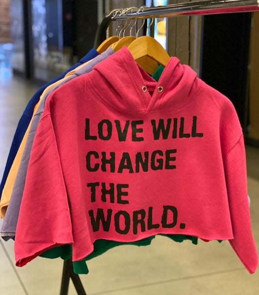 "Image of ""Love Will Change The World"" Crop Top hoodie."