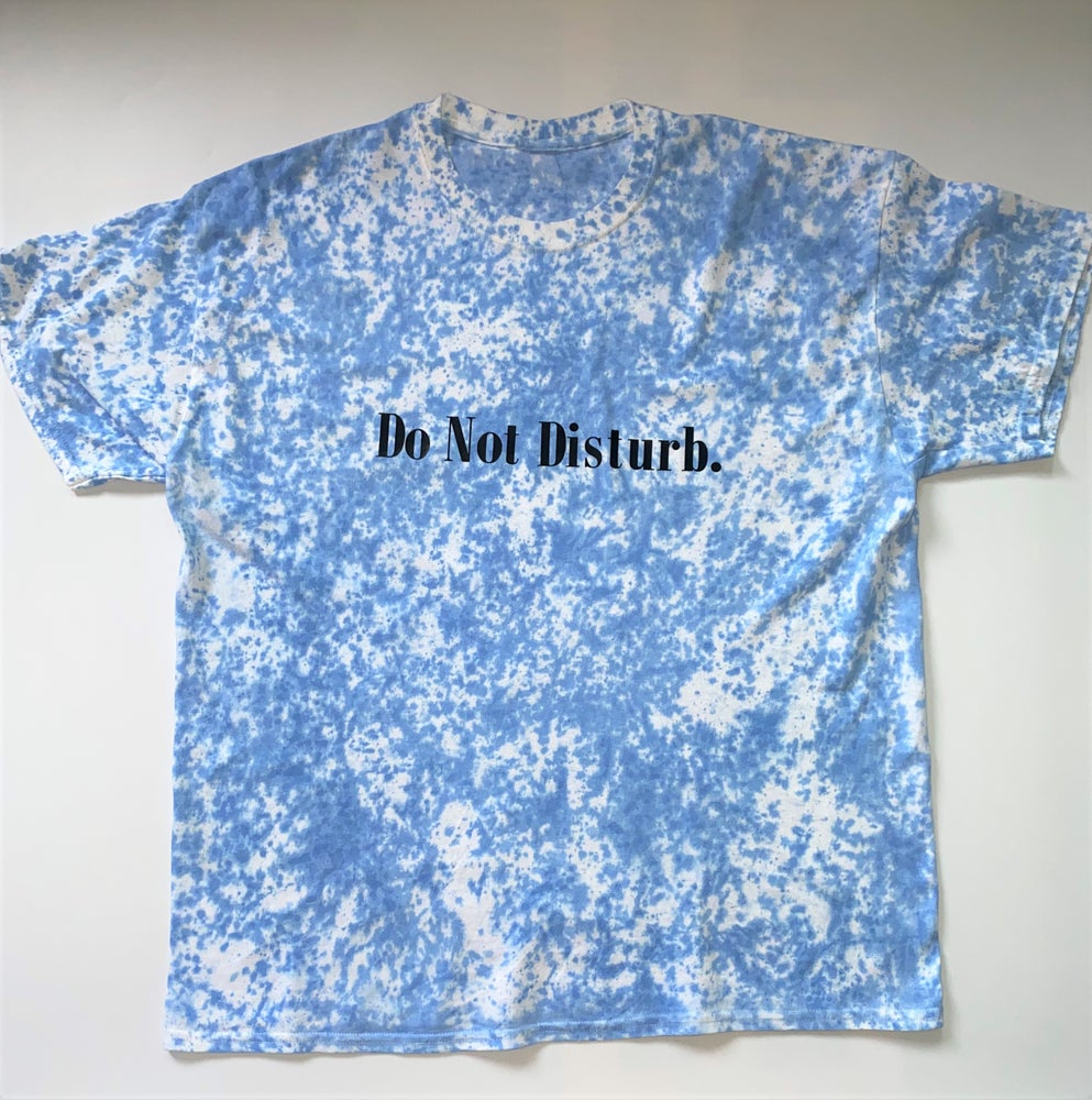 "Image of Everyday Tie Dye Do Not Disturb T Shirt ""Black on Blue"""