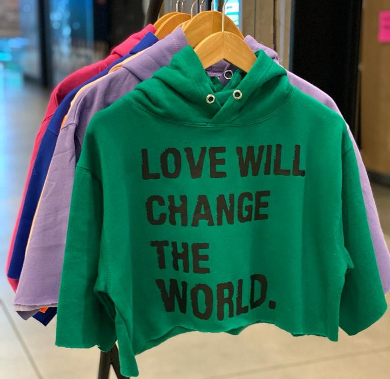 """Image of """"Love Will Change The World"""" Crop Top (Green)"""