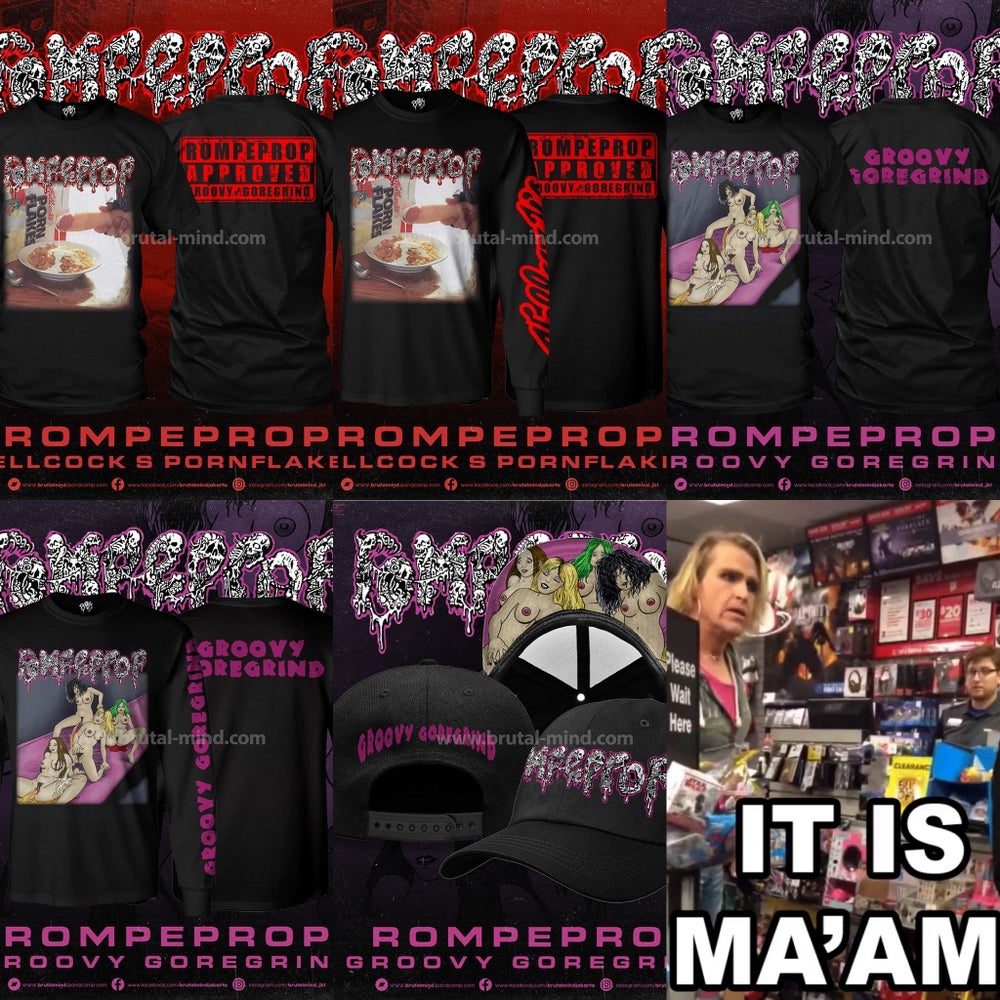 """Image of *PREORDER* Official Rompeprop """"Hellcock's Pornflakes""""""""Groovy Goregrind"""" Short/Long Shirts and Hats!!"""