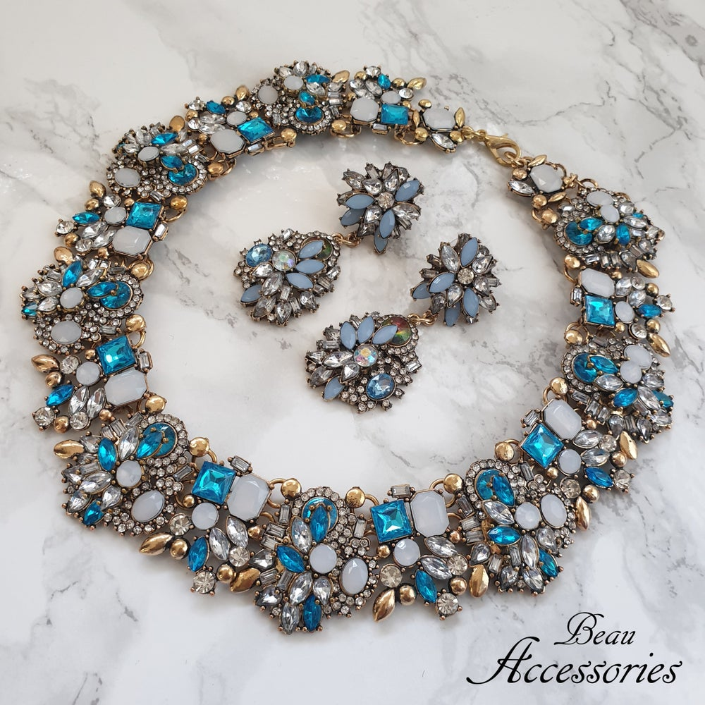 Image of Blue Velencia Necklace and Earring Set