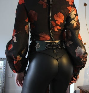 Image of INDIAN SUMMER FLORAL TAFETTA CORSET WITH BALLOON SLEEVES