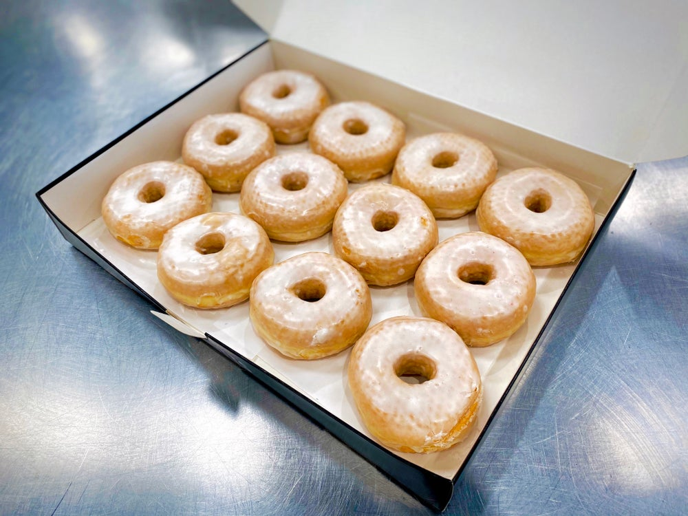 Image of Box  of 6 or 12 Vanilla Bean Glaze Doughnuts
