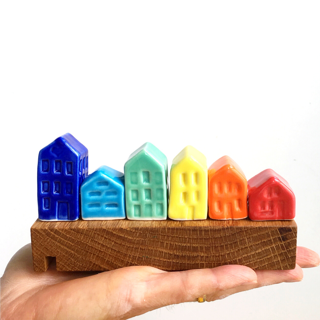 Image of Set of 6 Rainbow Houses