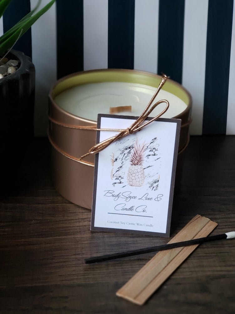 Image of WOODY + LEATHER + BRANDY + COCONUT CREME' SOY WAX CANDLE