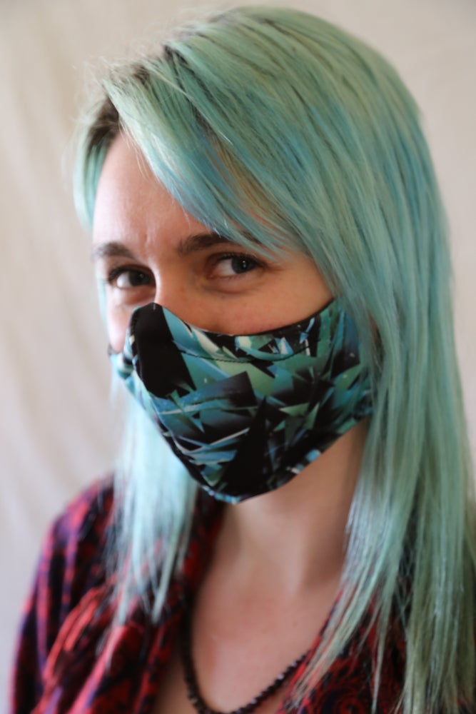 Image of Blue Shatter Locally Made Cotton/Spandex Mask