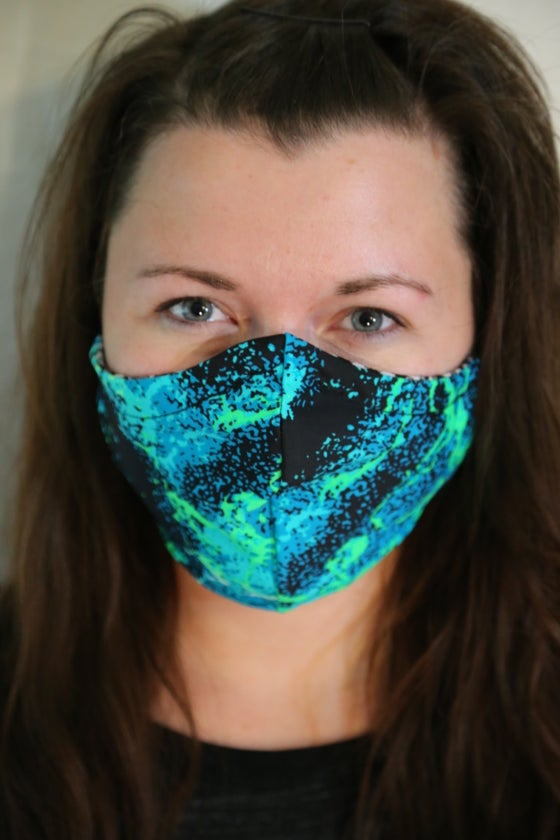 Image of Ocean Blues Locally Made Spandex/Cotton Mask