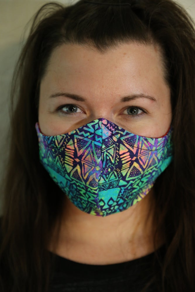 Image of Tribal Green Locally Made Spandex/Cotton Mask
