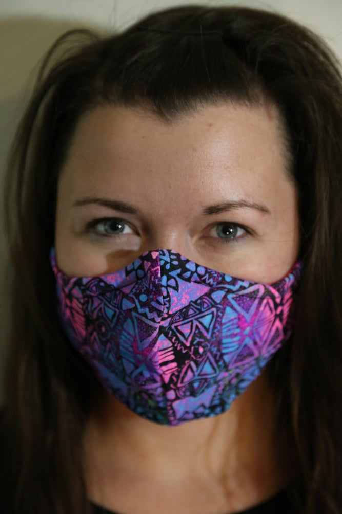 Image of Tribal Teal Locally Made Spandex/Cotton Mask
