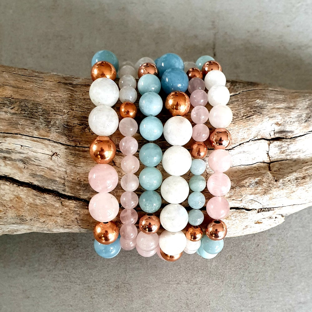 Image of INNER GODDESS BRACELET - Rainbow Moonstone - Rose Quartz - Aquamarine - Copper