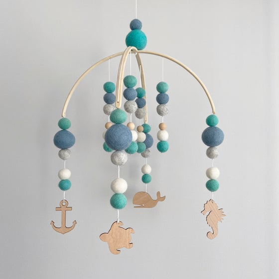 Image of Under the Sea - mint, steel blue, grey & white