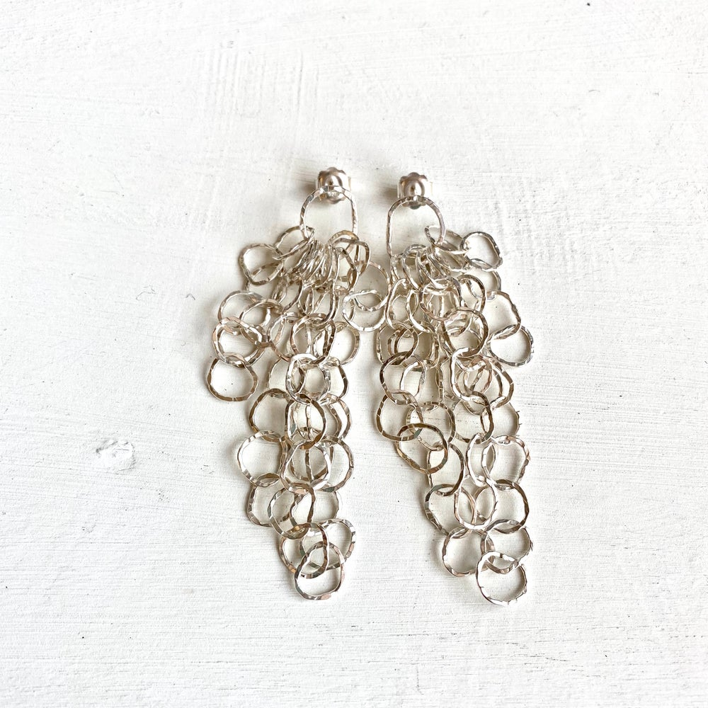Image of Small Afiok cascade earrings- sterling silver
