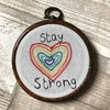 Stay Strong rainbow heart hoop