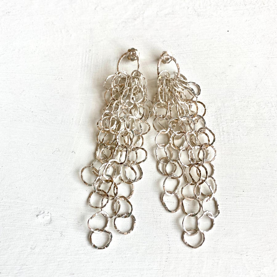 Image of Large Afiok cascade earrings- sterling silver