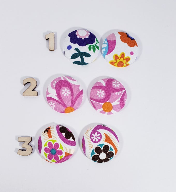 Image of Mix Match Flower Button Earrings