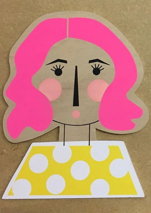 Image of Wavy Haired Girl Hand Screen Printed Wooden Wall Plaque (different hair colours available)