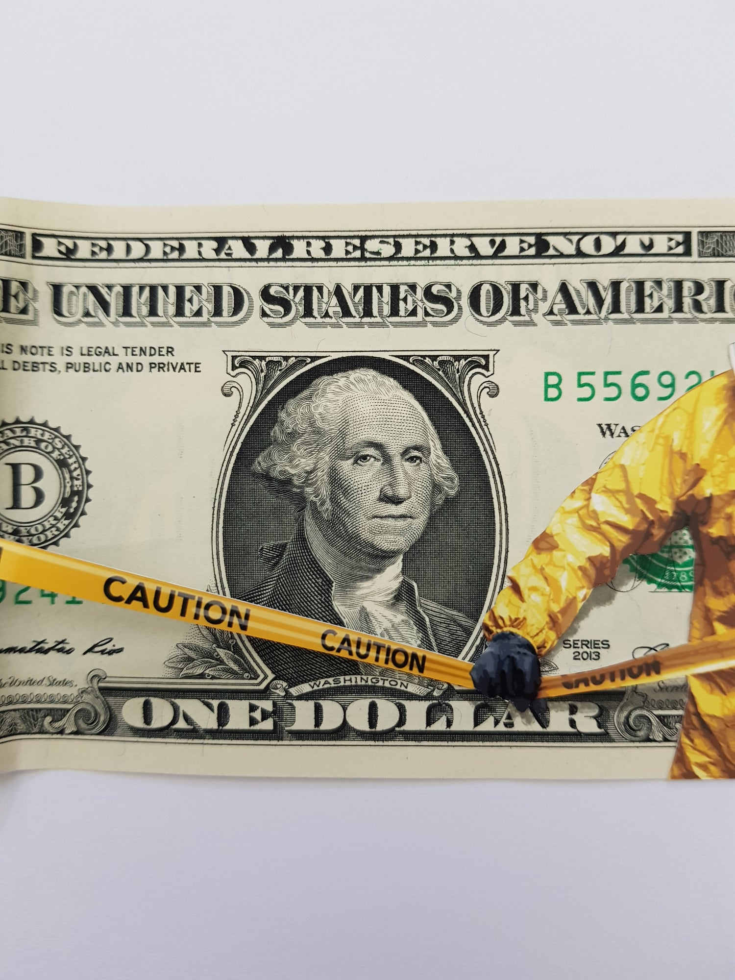 """Image of PENNY """"PROTECTED INTEREST"""" - MIXED MEDIA ON ONE DOLLAR BILL , LTD ED 100"""