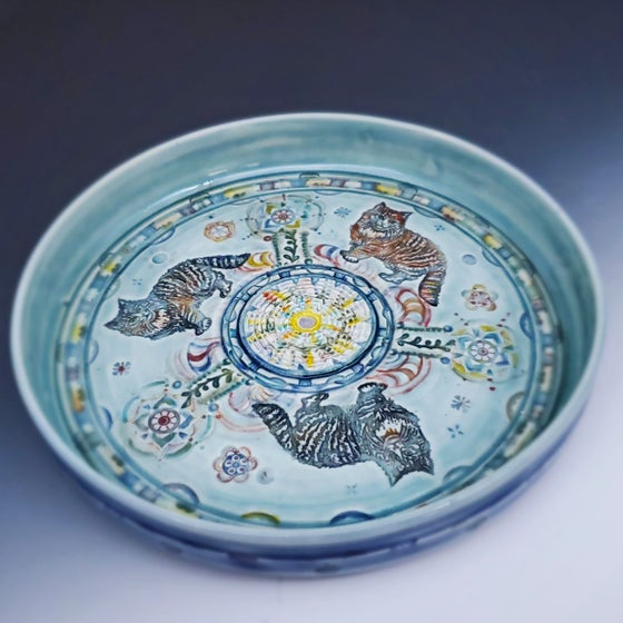 Image of Norwegion Cat Trio  Garlic Grater/Oil Porcelain Dish