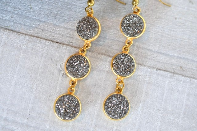 Gray Druzy Dangle Earrings