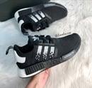 Image of Swarovski Adidas NMD Runner Casual Shoes Black/White customized with Swarovski Crystals.