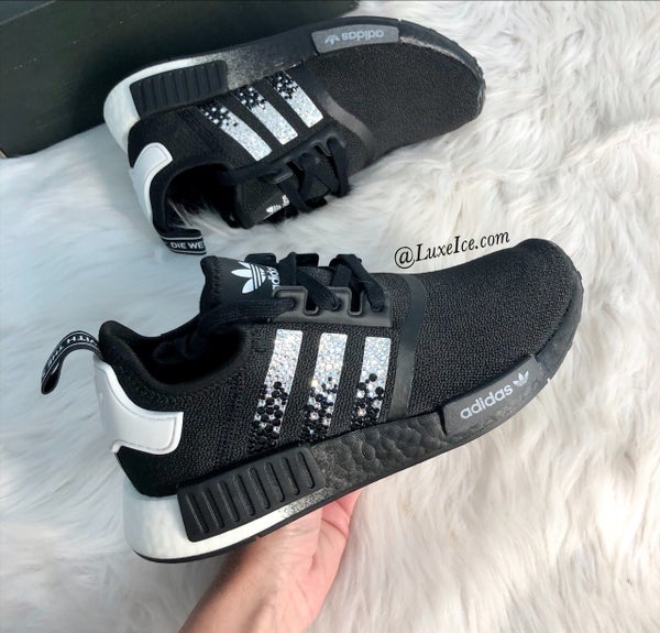 Image of Swarovski Adidas NMD Runner Casual Shoes Black/White customized with Swarovski Crystals.
