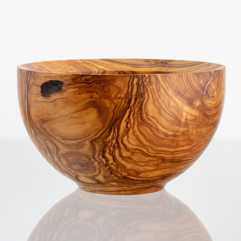 Image of Olive Wood Bowl with Copper Inlay