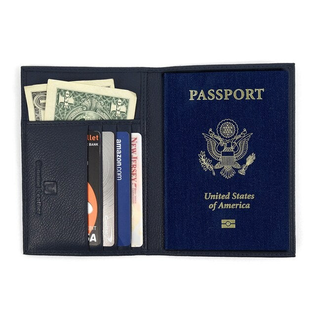 RFID Genuine Leather American Eagle Embossing Passport Case