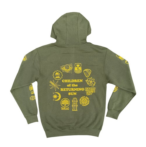 Image of Sun and Stars Hoodie - Army Green