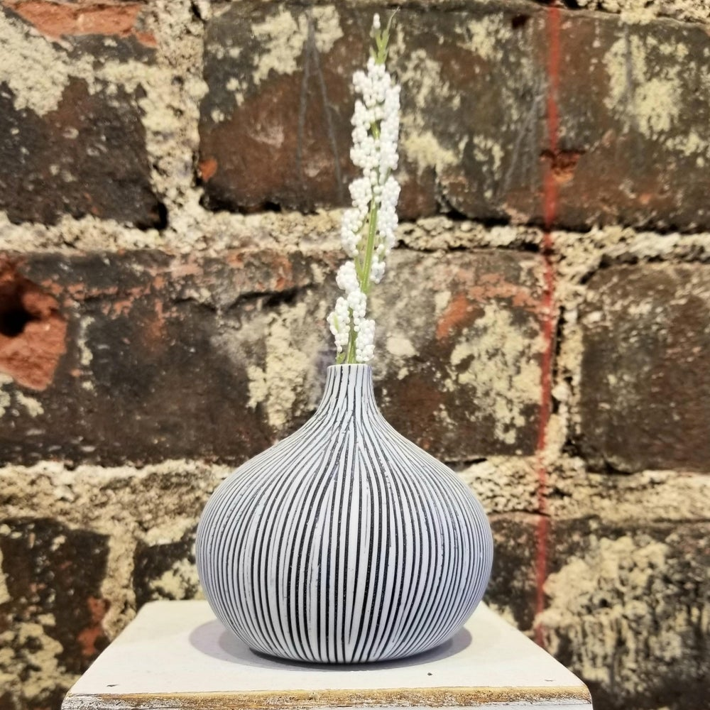 Image of Navy Stripe Small Congo Vase (Pick up only)