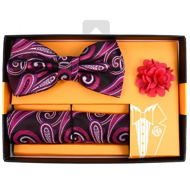 Paisley Pattern Banded Bow Tie, Matching Hanky & Lapel Pin Set