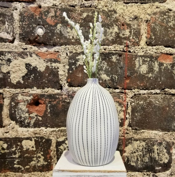 Image of Navy Dot Stripe Tall Seed Vase (Pick up only)