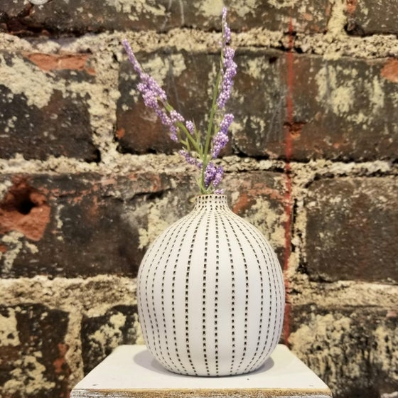 Image of Brown Dot Stripe Small Seed Vase (Pick up only)