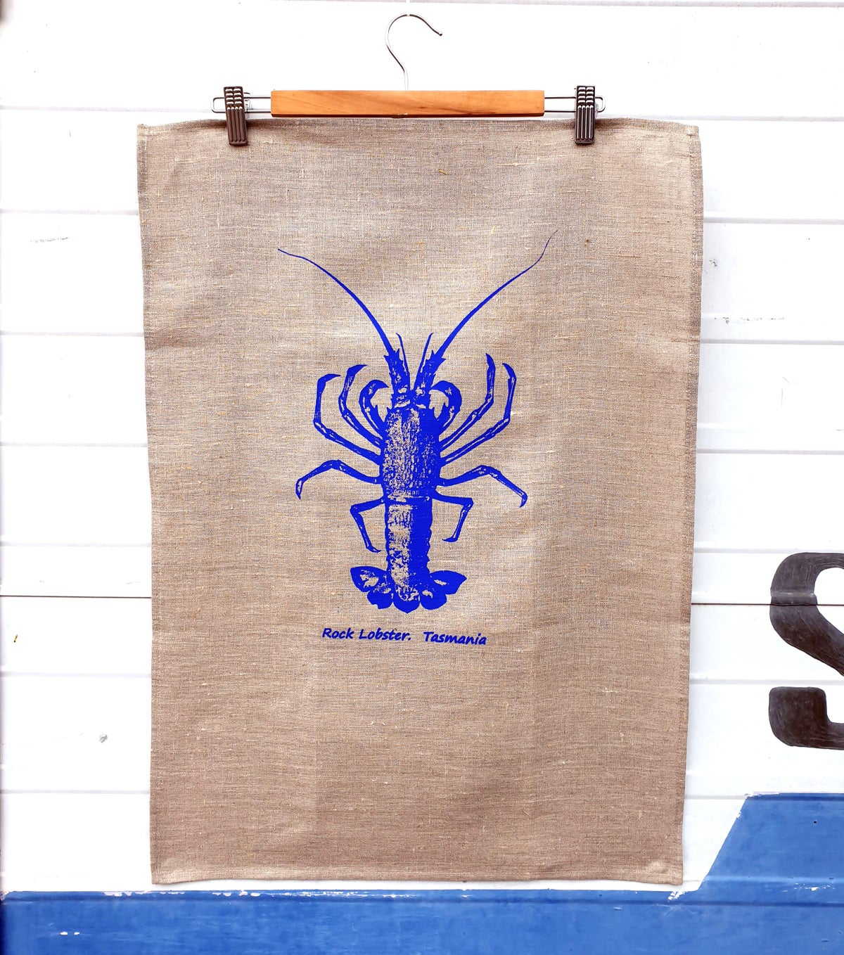 Rock Lobster Linen T Towel - Electric Blue
