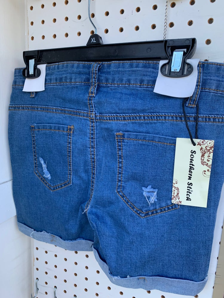 Image of Girls Ripped Denim Shorts